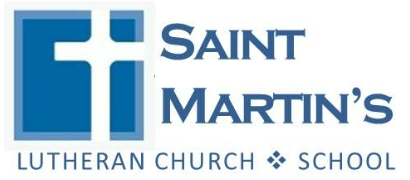 St. Martin's Lutheran Church Logo, a white cross surrounded by a blue square reading Saint Martin's Lutheran Church & School