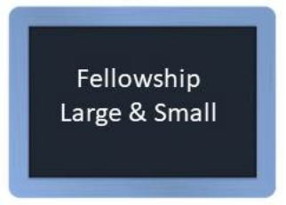 Blackboard that links to St. Martin's Fellowship Opportunities, with large and small groups
