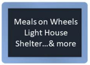 Blackboard that links Meals on Wheels, Light House Shelter, and more Outreach ministries at St. Martin's Lutheran Church